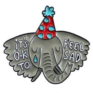 It's OK to be sad Enamel Pin Depressed Party Animal Elephant Self-Care Brooch